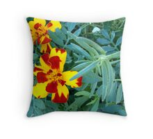 Variegated Marigolds Throw Pillow
