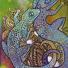 Blue Geckos by Lynnette Shelley