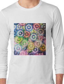 Multi Color Grunge Circles Pattern Long Sleeve T-Shirt