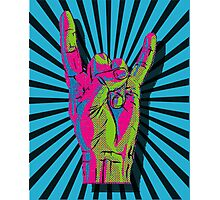 THROW UP THOSE HEAVY METAL HORNS Photographic Print
