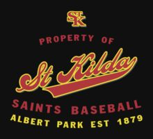 Property of St Kilda Baseball Club Script T-Shirt Black/White/Charcoal/Grey by St Kilda Baseball Club