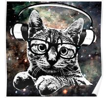 Space Kitty - Headphones On Poster