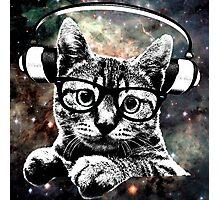 Space Kitty - Headphones On Photographic Print