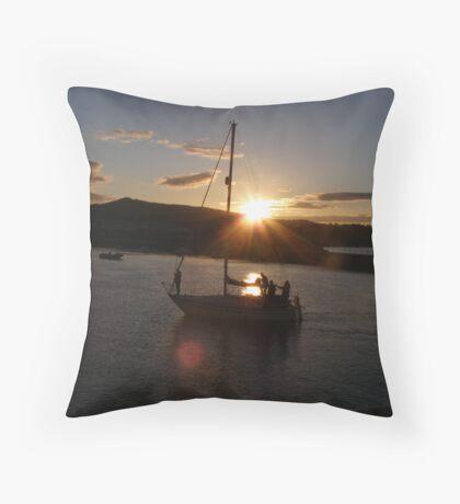 Sunset in Bray Harbour Ireland Throw Pillow