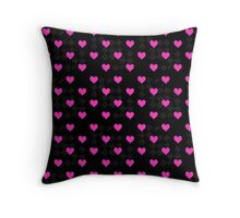 Hot Pink Hearts and Diamond Pattern Throw Pillow