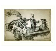 Delorean time machine drawing Art Print