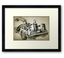 Delorean time machine drawing Framed Print