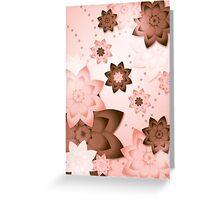 Pink & Brown Flowers Greeting Card