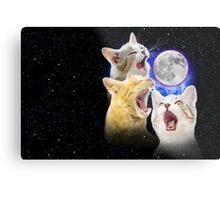 Exclusive Three Cat Moon Design! Metal Print