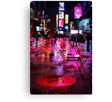 Rainy Night in Times Square Canvas Print