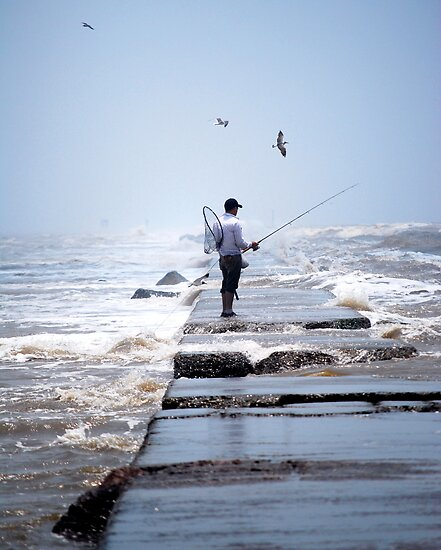 Stormy fishing in galveston bay by kaiborder redbubble for Fishing in galveston