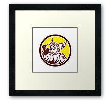 Norse God Odin Raven Circle Framed Print