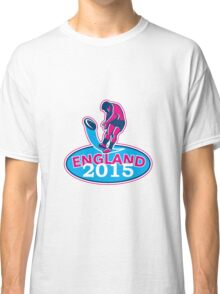 Rugby Player Kicking Ball England 2015 Retro Classic T-Shirt