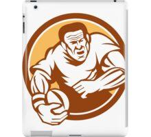 Rugby Player Running Ball Circle Linocut iPad Case/Skin