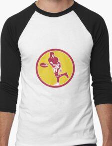 Rugby Player Passing Ball Circle Retro Men's Baseball ¾ T-Shirt