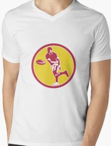 Rugby Player Passing Ball Circle Retro Mens V-Neck T-Shirt