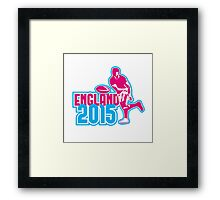 Rugby Player Passing Ball England 2015 Retro Framed Print