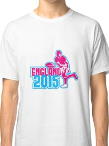 Rugby Player Passing Ball England 2015 Retro Classic T-Shirt