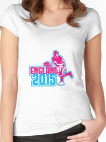Rugby Player Passing Ball England 2015 Retro Women's Fitted Scoop T-Shirt
