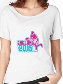 Rugby Player Passing Ball England 2015 Retro Women's Relaxed Fit T-Shirt