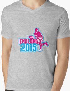 Rugby Player Passing Ball England 2015 Retro Mens V-Neck T-Shirt