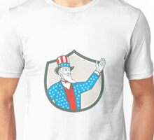 Uncle Sam American Hand Up Shield Retro Unisex T-Shirt