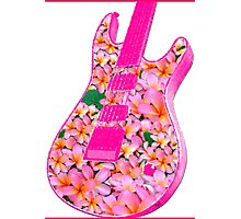Guitar of Pink Flowers Photographic Print