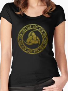 Triple Horn of Odin, Celtic Knot, Triforce, Odin Symbol Women's Fitted Scoop T-Shirt