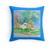 My Valentine Whimsical Designer Art Blue Throw Pillow