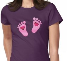 Baby feet with heart Womens Fitted T-Shirt