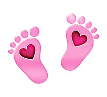 Baby feet with heart Photographic Print