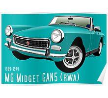 MG Midget Mark III RWA aqua blue Poster