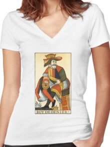 King Of Coins Women's Fitted V-Neck T-Shirt