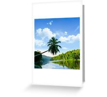 picturesque palm tree leans over the tropical river in the early hours Greeting Card
