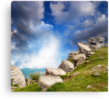 magnificent mountain landscape with clouds and fog relief Canvas Print