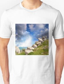 magnificent mountain landscape with clouds and fog relief Unisex T-Shirt