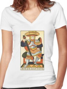 King Of Wands Women's Fitted V-Neck T-Shirt