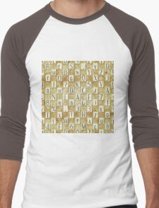 seamless background with letters .  Men's Baseball ¾ T-Shirt