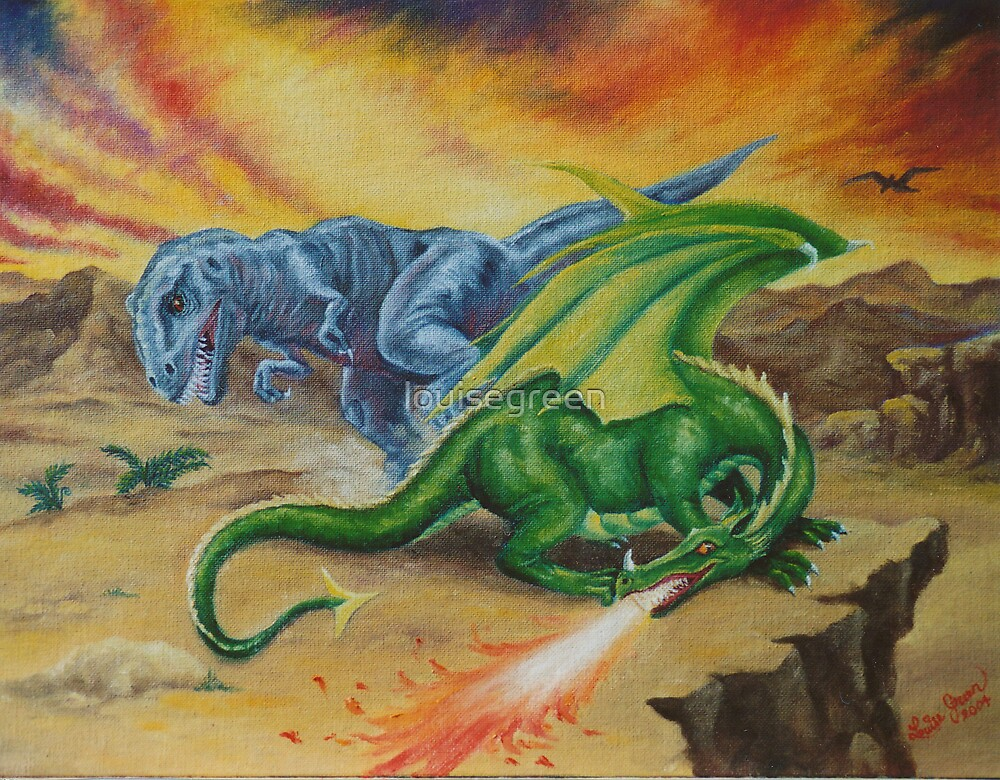 T-Rex & The Dragon by louisegreen