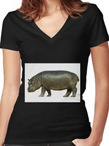 figure of a young hippo. Isolation on white background Women's Fitted V-Neck T-Shirt