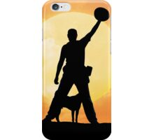 Male silhouette on background amazing sunset iPhone Case/Skin