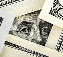 portrait of Benjamin Franklin on the hundred dollar bill  by Sergieiev