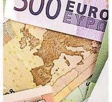 Map of Europe on 50 Euro banknote  Photographic Print