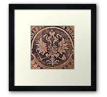 Threadbare coat of arms of the Russian empire Framed Print