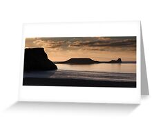 Rhossili bay and Worm's head on the Gower peninsular Greeting Card