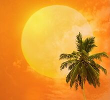 Silhouettes of palm trees on the artistic background by Sergieiev
