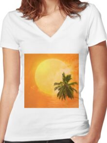 Silhouettes of palm trees on the artistic background Women's Fitted V-Neck T-Shirt