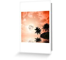 Silhouettes of palm trees on the artistic background Greeting Card