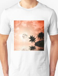 Silhouettes of palm trees on the artistic background T-Shirt