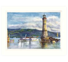 Lindau Lighthouse and Harbour, Germany Art Print